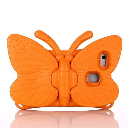 Tading 3D Cute Butterfly Kids Case for Samsung Galaxy Tab A 8.0 2019 SM-T290/T295, Shockproof Light Weight EVA Foam Protective Cover with Stand for Galaxy Tab A 8.0 inch Tablets for Girl - Orange