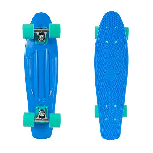 "Retrospec Quip Skateboard 22.5"" Classic Retro Plastic Cruiser Complete Skateboard with Abec 7 bearings and PU wheels, Royal Blue (3172)"