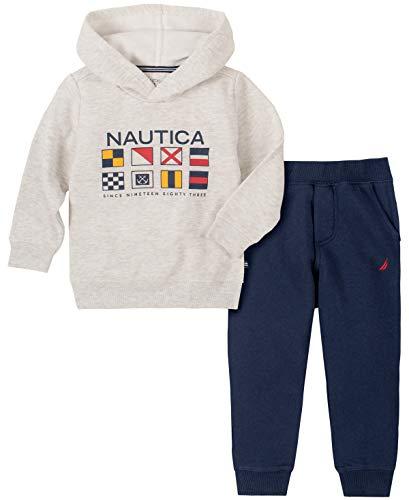 Nautica 2 Pieces Hooded Pullover Pants Set Conjunto para bebs y Nios pequeos, Gris, 24 Meses para Bebs