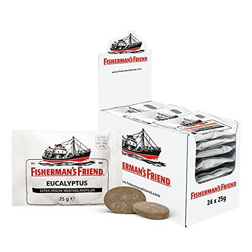 Fisherman\'s Friend Eucalyptus | Karton mit 24 Beuteln | Menthol und Eukalyptus Geschmack | Mit Zucker | Für frischen Atem