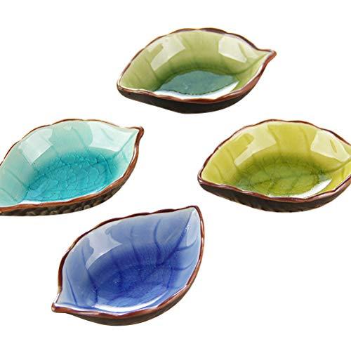 DOITOOL alta calidad 4pcs cerámica condimentos salsa platos multi-funcional alimentos platos de inmersión hojas forma platos para cocina restaurante hogar tamaño M