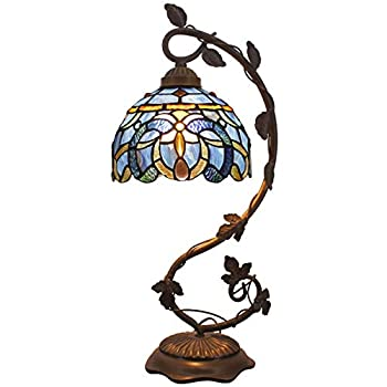 Tiffany Lamp Blue Purple Clouldy Stained Glass Shade Table Desk Banker Reading Light W8H20 Inch S558 WERFACTORY LAMPS Lover Friend Kid Living Room Bedroom Study Dresser Office Bar Bedside Crafts Gifts