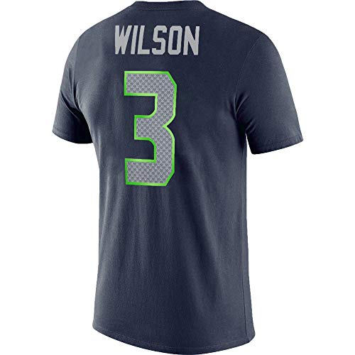 NFL Youth 8-20 Team Color Alternate Dri-Fit Cotton Player Name and Number Jersey T-Shirt (Youth - Large, Russell Wilson Seattle Seahawks Home Navy)
