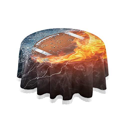 Mnsruu Tischdecke, 152,4 cm, rund, American Football, Feuer, Wasser, Tischdecke, dekorative Spitze, Makramee für Buffet-Tisch, Party, Urlaub Abendessen