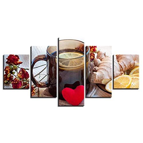 Wslin canvas afdrukken muurkunst canvas schilderij voor keuken 5 stuks fruit gember citroen thee poster foto's Home restaurant decoratie Hd afdrukken afdrukken op canvas 200X100cm