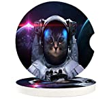 """Car Coasters Pack of 2, Auto Coasters for Cup Holder Small 2.56"""" Stone Car Cupholder Absorbent Coaster Set for Women Men Drink Cup Holder Coasters,Astronaut Cat"""
