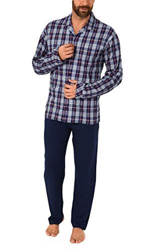 Trend by Normann Herren Pyjama lang durchgeknöpft Karo Single Jersey in Übergrössen - 61710, Farbe:Marine, Größe2:64