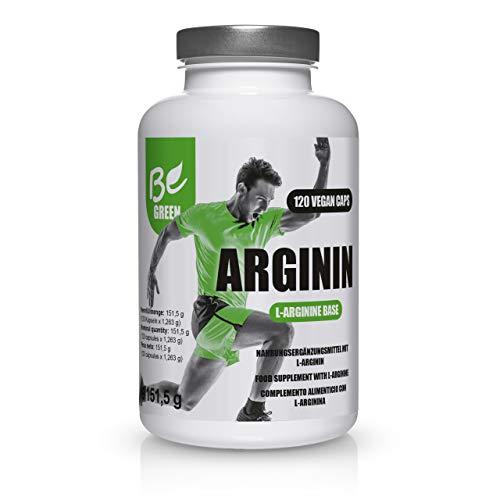 BeGreen L-Arginin Kapseln | 4400 mg L-Arginin pro Tagesdosis | 100{61786cff49de8bb4e1044e81043453661de56c676b173d116d34bcabcc1b04f3} vegan hergestellt durch pflanzliche Fermentation ohne künstliche Zusätze | 120 Kapseln | Laborgeprüfte Qualität | Made in Germany