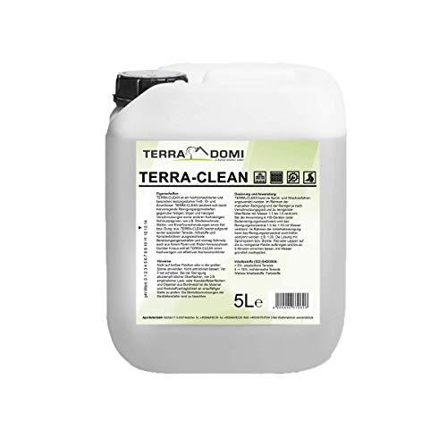 TerraDomi Terra-Clean, Reinigungsmittel für hartnäckige Verschmutzungen, wirksamer Power-Reiniger für Terrasse, Dach, Haus, Hof & Garten, vielseitige Anwendungsgebiete (5 Liter)