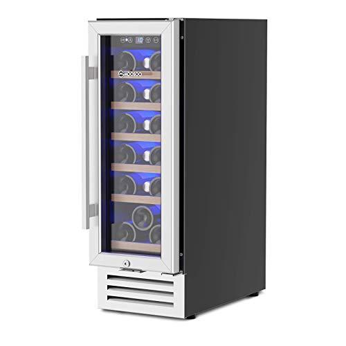 MOOSOO 12 Inch Wine Cooler, 18 Bottles Built-in or Freestanding with Compressor Wine Refrigerator, Temperature Memory and No Fog Tempered Glass Door Wine Fridge, Ultra Quiet, Energy Saving, ETL Certificated