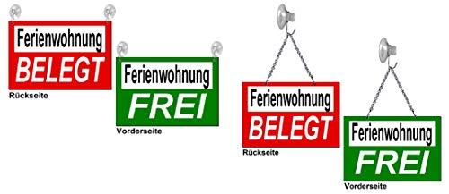 Desi-Schilder Ferienwohnung frei/belegt-Aluminium Verbund-30 x 20 cm Wendeschild-Infoschild-Hängeschild-Schild (139-19 -30 x 20 cm mit Kettchen + 1 Saughaken)