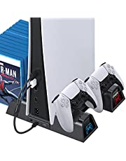OIVO PS5 Cooling Stand with Charging Station and Suction Cooling Fan,Dual Controller Charger Station,Must Have Accessories for Playstation 5 PS5 Console,Charging Dock Station and 12 Game Slots