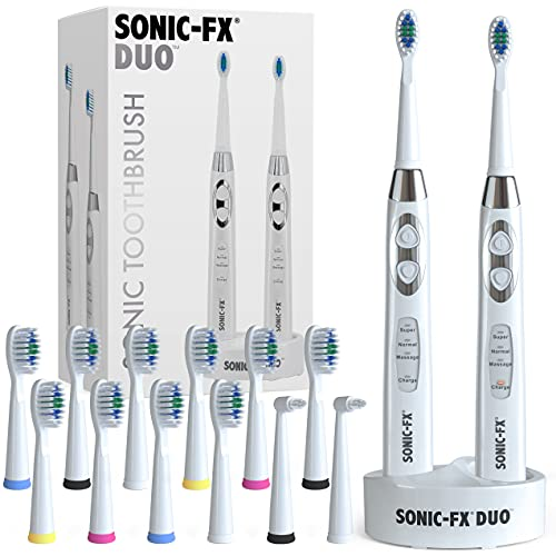 Sonic-FX Duo Dual Handle Sonic 3 Brushing Modes Toothbrush Set with Smart Timer for Adults and Kids...