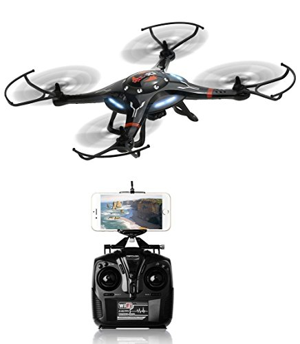 Drone with Super Wide Angle HD Action Camera with 360 Degree Visibility | Wi-Fi Sync Smartphone Controlled Real-Time Video on Propellered Mount | Black CX-32W by TechTroo