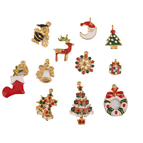 Christmas Charms Pendants Jewelry Findings Set of 11pcs Gold
