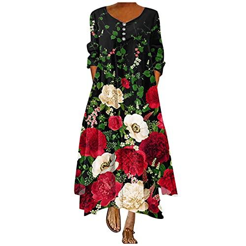 IKFIVQD Vestidos casuales para mujer, de manga larga, estilo bohemio, vestido de playa, vestidos sueltos florales, rosso, M