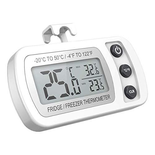 AMIR デジタル温度計 冷蔵庫用 IPX3防水 室内/室外用可 高精度 温度測定範囲-20℃~50℃ 最高最低温度値記録 置き掛け両用 フック付き ペット飼育 見やすい 小型 (ホワイト)