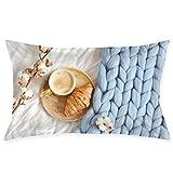 Osmykqe Funda de Almohada Funda Cappuccino Croissant Azul Pastel Gigante 20x30 Inch Funda de Almohada para Sala de Estar Sofá Dormitorio