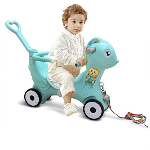 Discover Bargain Kids Rocking Horse, Mosunx Infant 2 in 1, 4 Functions Ride-on Chair Animal Rocker w...