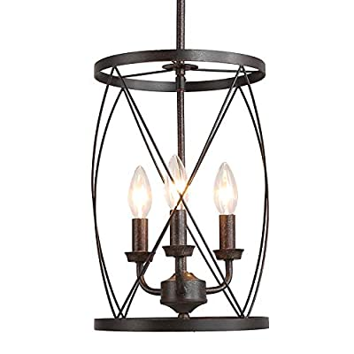 """Foyer Chandeliers, Industrial 3-Light Pendant Lighting for Kitchen Island, Entryway Chandelier with Cylinder Metal Shade, 9.1"""" inches"""