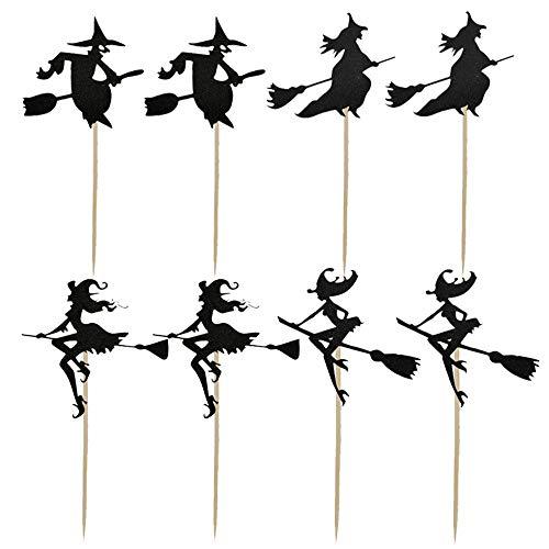8 Stück Halloween Cupcake Topper Hexenbesen Halloween Kuchen Dekoration Cup Karte für Geburtstagsfeier Lieferungen