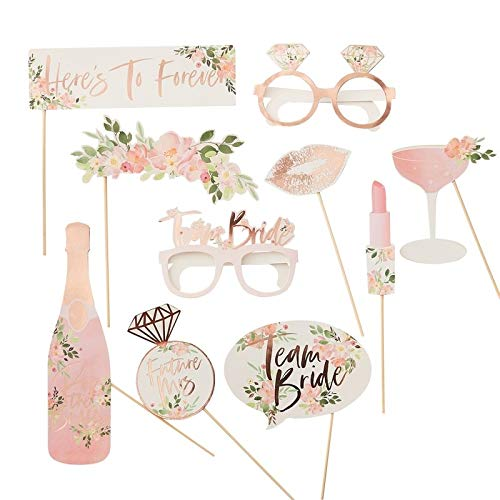 Photo Booth Props Pink and Gold Party Supplies Bridal Shower Batchelorette Party Decorations Rose Gold Party Decor Photobooth Wedding Party Kit Pack of 10