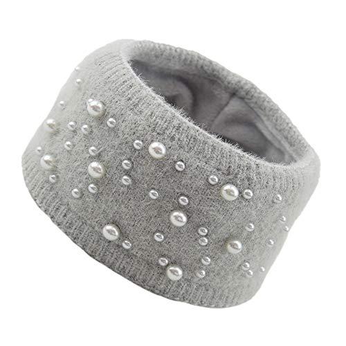 SKYLULU Gestricktes Perlenstirnband, nerzartig gewebte Kopfbedeckung, warmes Wollstirnband, Haarschmuck für Herbst und Winterbündel