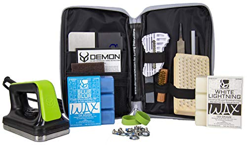 Demon Mechanic Plus Ski and Snowboard Tuning Kit - with Slide Iron, Universal Wax, Cold Wax and Nylon Brush