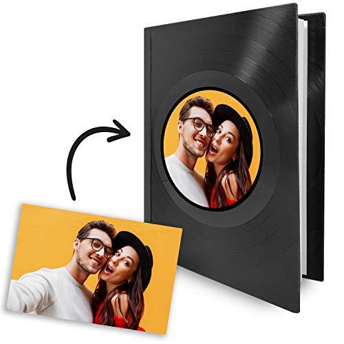 Mancha de Creación - Agenda anual 2021 personalizable, hecha con discos de vinilo LP, diseño personalizado con foto, tamaño A5 (22x15 cm), día-página, tapa dura, incluye info y plannings, día-vista
