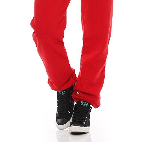 Hoppe Damen Jumpsuit Jogger Einteiler Jogging Anzug Trainingsanzug Overall (XL, Rot) - 6