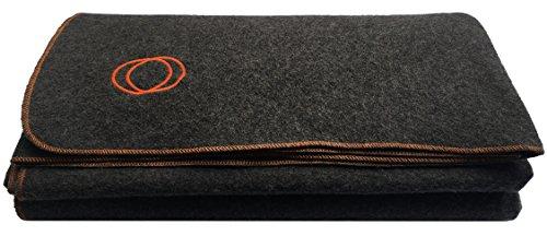 "Orion Outpost Trading Co.Wayfarer Travel Inspired Fleece Blanket, Lightweight and Warm, 60"" x 84"" (Gray/Orange Stitch)"