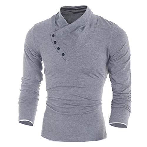Herren Sweatshirt Mode Casual Einfarbig Rollkragen V-Ausschnitt Patchwork Einfarbig T Shirt Chic Classics Bequem Pullover Slim-Fit Herbst und Winter Warm Weiches Outwear Mitteldick XL