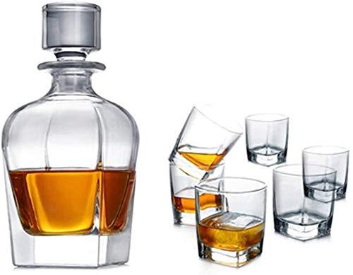 CAONIDAYE Decantador Decanter Artesanal, Hecho a Mano Elegante Libre de Plomo y 100% soplado de Cristal Fino Polaco, escocés o Whisky