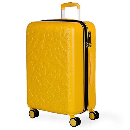 Lois - Maleta de Viaje Mediana 4 Ruedas Trolley. 66 cm rígida de abs. Dura práctica cómoda Ligera y Bonito diseño Marca. candado TSA. 171160, Color Mostaza