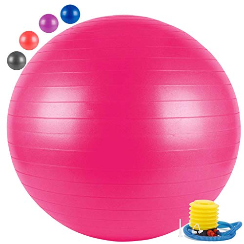 EKWA Group® Anti-Burst Yoga Gym Balls for Exercise with Foot Pump, Exercise Ball, Gym Ball 75cm