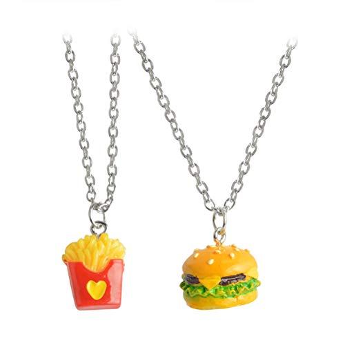 Amosfun - 2 ciondoli a forma di carina coppia di cartoni animati deliziosi hamburger patatine fritte...