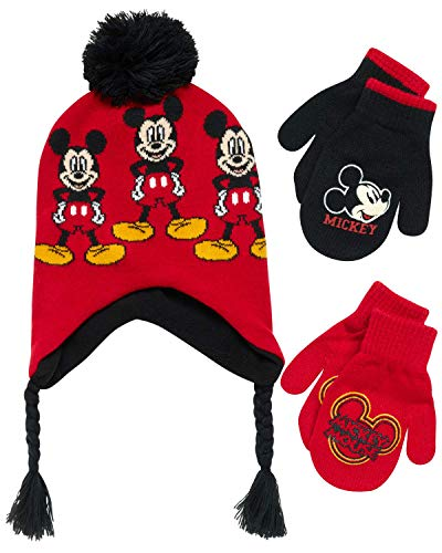 Disney Boys Mickey Mouse Winter Hat and 2 Pair Mitten or Gloves Set (Age 2-7)