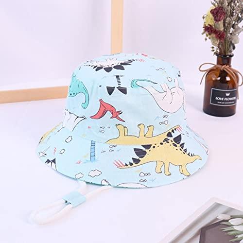 Primavera otoño Fino Dibujos Animados Dinosaurio Estampado bebé Cubo Sombrero algodón Pescador Sombreros niños Verano niños niñas Gorra de Sol-a18