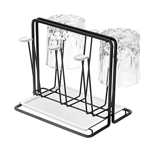 YLR Cup Drying Rack Stand with Drain Tray,Home Cup Drying Rack,6 Cup Drainer Stand Rack Non-Slip Mugs Cups Detachable Drip Tray for Glasses Mugs Organizer Black