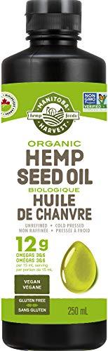 Manitoba Harvest Organic Hemp Seed Oil, 12g of Omegas 3&6 Per Serving, Non-GMO, Vegan, Gluten-Free 250ml