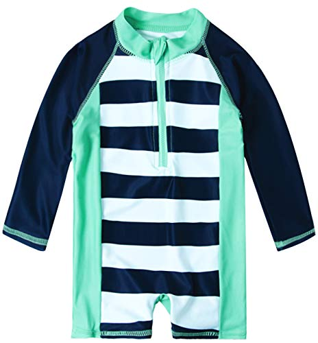 uideazone Baby Toddler Boys Long Sleeve Swimsuit UPF 50+ Sun Protection One Piece Swimwear Summer Beach Rashguard Bathing Suits 6-12 Months Blue