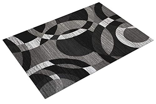 TAPISO Maya - Alfombra Moderna para salón, Gris y Negro, geométrica Abstracta de Pelo Corto, 120 x 170 cm
