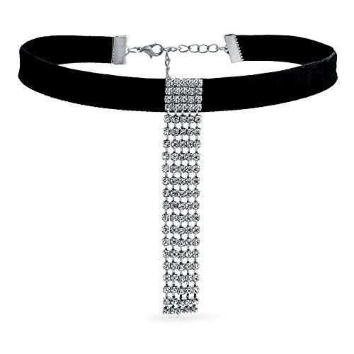 Bling Jewelry Halsband Schwarz Samt Weiß Kristall Baumeln Wasserfall Fransen Verstellbare Abschlussball Urlaub Abend Halskette Für Frauen Für Teen