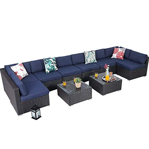 PHI VILLA Outdoor Rattan Sectional Sofa- Patio Wicker Furniture Set (10-Piece, Blue)