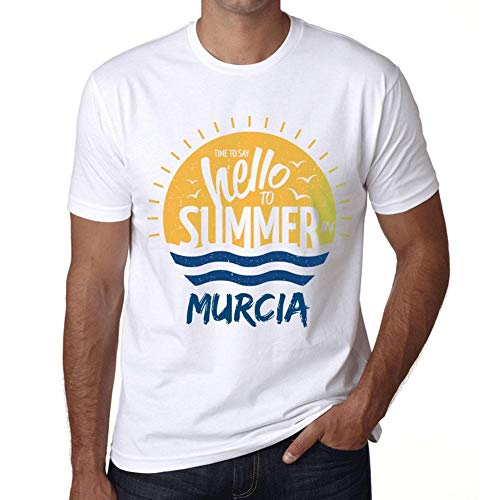 Hombre Camiseta Vintage T-Shirt Gráfico Time To Say Hello To Summer In Murcia Blanco