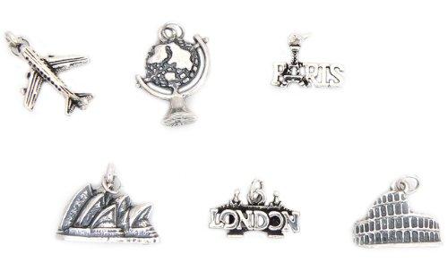 Charmsupplies - Amuletos, diseño de ciudades del mundo (Sídney, París, Roma y Londres)