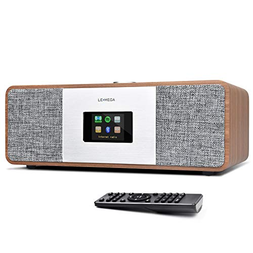 LEMEGA MSY3 All-in-one Stereo Internetradio(WiFi,Spotify,DAB+ Digitradio,UKW,Bluetooth,USB,Kopfhöreranschluss,AUX-IN,Radiowecker,Holzoptik,Farbdisplay,20 Watt, Fernbedienung,Netzteil) - Nussbaum