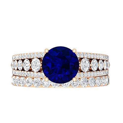 Conjunto de anillos de novia creados en el laboratorio de zafiro azul, joyas de oro sólido, piedras preciosas redondas de 3,70 quilates, 14K Oro rosa, Size:EU 58