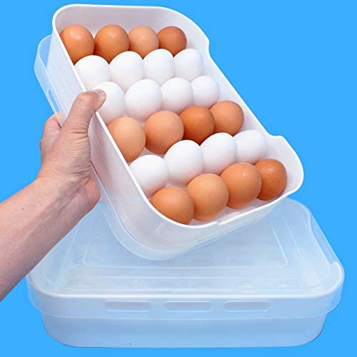 2 Pack 24 Count ea Egg Holder and Storage Container for Refrigerator 4 Dozen S to Jumbo Eggs product image