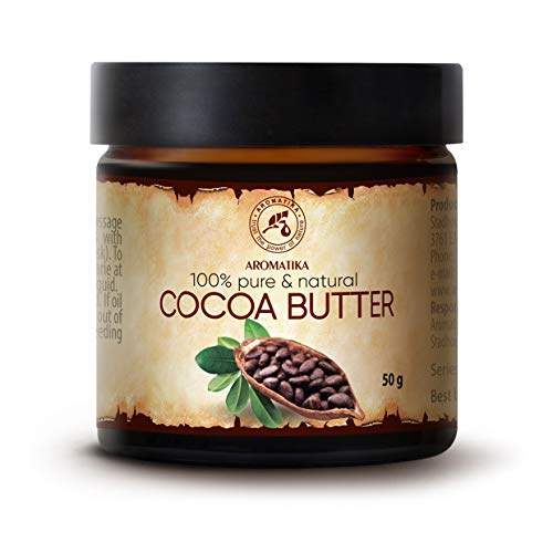 Cocoa Butter Unrefined Native 50g - South Africa - 100% Pure & Natural - Body Butter - Intensive Care for Face - Hair - Skin - Lips - for Beauty - Massage - Cosmetics - Body Care